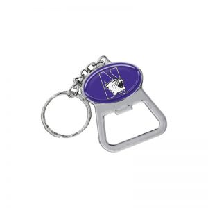 Northwestern Wildcats Purple Oval Bottle Opener Key Chain with N-Cat Design