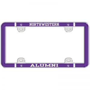 Northwestern Wildcats Full Color Plastic Universal License Plate Frame with Northwestern Alumni Design