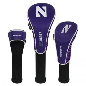 Northwestern Wildcats Set of Three Golf Club Headcovers with Stylized N Design