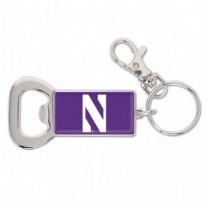 Northwestern Wildcats Purple Rectangle Bottle Opener Key Chain with N-Cat Design
