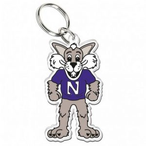 Northwestern Wildcats Premium Acrylic Key Ring with Willie the Wildcat Design