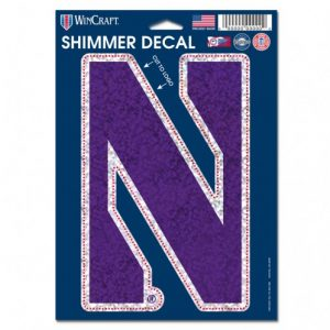 """Northwestern Wildcats Shimmer Decals 5"""" x 7"""" with Stylized N Design"""