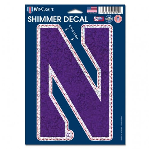 "Northwestern Wildcats Shimmer Decals 5"" x 7"" with Stylized N Design"