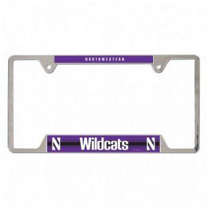 Northwestern Wildcats Chrome License Plate Frame with Purple Laser Cut Northwestern/Wildcats Inserts