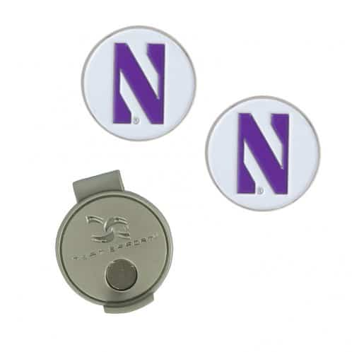 Northwestern Wildcats Hat Clip & Ball Markers with Stylized N Design