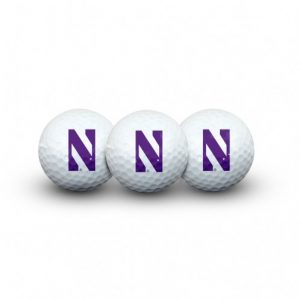 Northwestern Wildcats 3 Golf Balls In Clamshell with Stylized N Design
