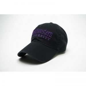 30bf8e301e82bc Northwestern University Wildcats Legacy Unconstructed Adjustable Black Hat  with Straight Northwestern University Design