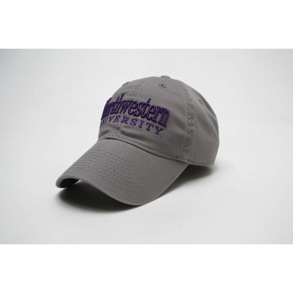 Northwestern Wildcats Legacy Unconstructed Adjustable Dark Grey Hat with Straight Northwestern University Design