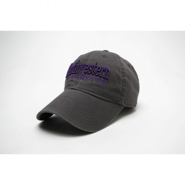 Northwestern Wildcats Legacy Unconstructed Adjustable Charcoal Grey Hat with Straight Northwestern University Design