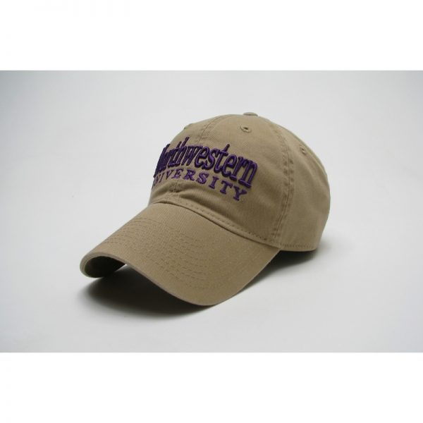 Northwestern Wildcats Legacy Unconstructed Adjustable Golden Khaki Hat with Straight Northwestern University Design