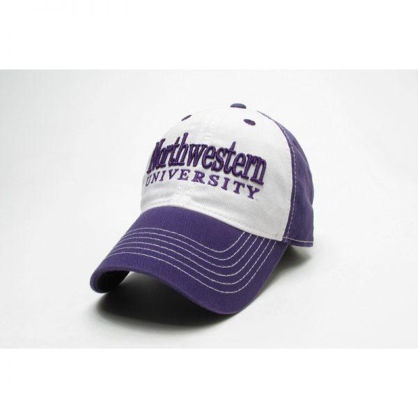 Northwestern Wildcats Legacy Unconstructed Adjustable Purple/White Freshman Hat with Straight Northwestern University Design
