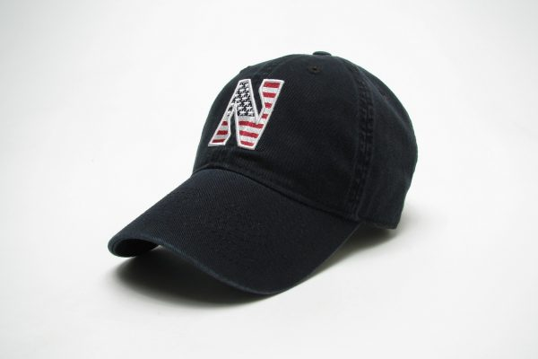 Northwestern Wildcats Legacy Unconstructed Adjustable Black Hat with Stylized N American Flag Theme Design