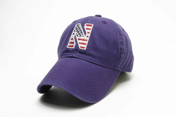 Northwestern Wildcats Legacy Unconstructed Adjustable Purple Hat with Stylized N American Flag Theme Design