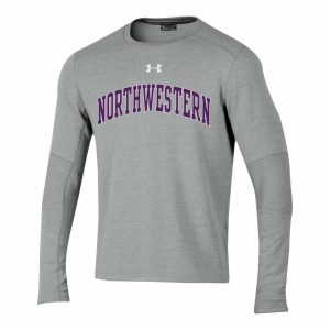 Northwestern University Wildcats Men's Under Threadborne Ridge Grey Crewneck Sweatshirt with Arch Northwestern Design