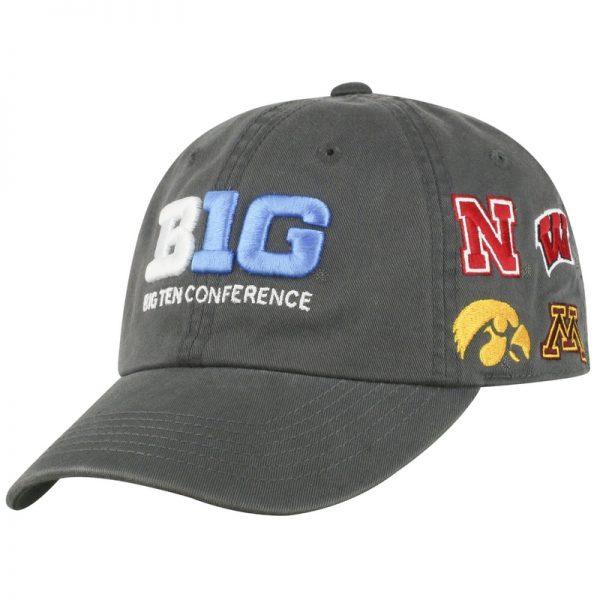 Northwestern Wildcats TW Unconstructed Adjustable Charcoal Grey Cotton Hat With Big Ten Design