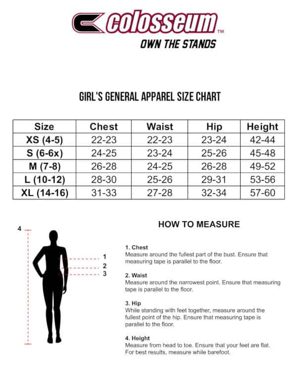 Colosseum Girls Sizing Chart