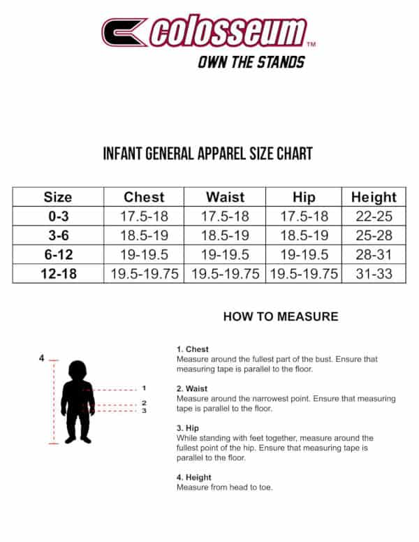 Colosseum Infant Sizing Chart