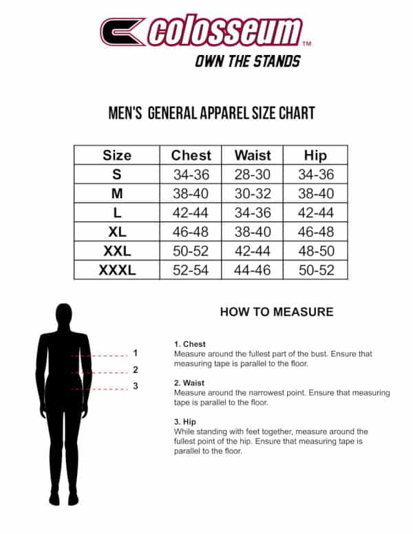 Colosseum Mens Sizing Chart
