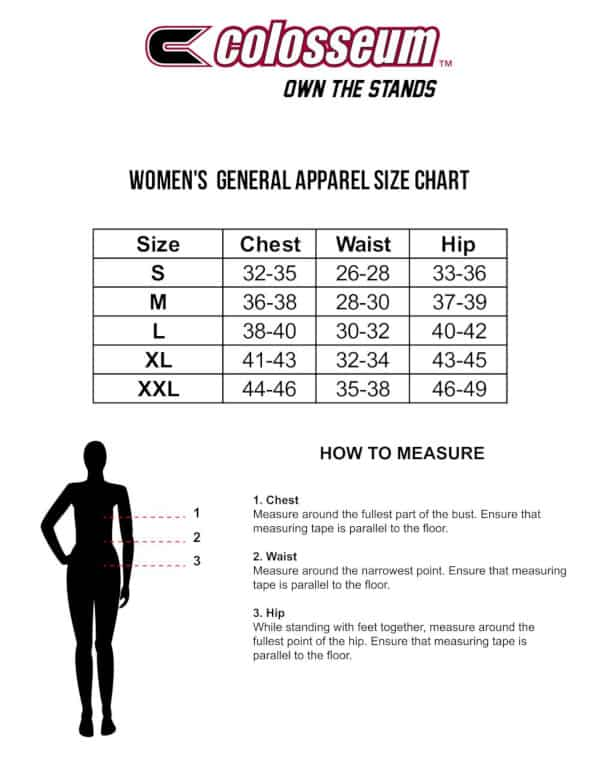 Colosseum Womens Sizing Chart