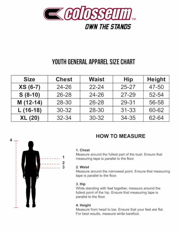 Colosseum Youth Sizing Chart
