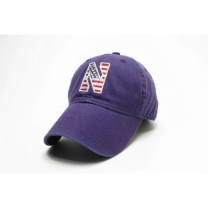Northwestern Wildcats Legacy Unconstructed Fitted Purple Hat with Stylized N American Flag Theme Design
