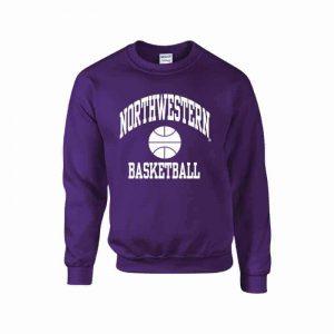 Northwestern Wildcats Men's Purple Crewneck Sweatshirt with Basketball Design