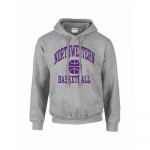 Northwestern Wildcats Men's Grey Hooded Sweatshirt with Basketball Design