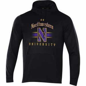 Northwestern Wildcats Men's Under Armour Tactical Tech™ Black Hooded Sweatshirt with Northwestern University & Stylized N Gothic Design