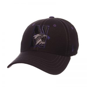 Northwestern Wildcats Zephyr Constructed Flex Fit Onyx Black Hat with Tonal N-Cat Design