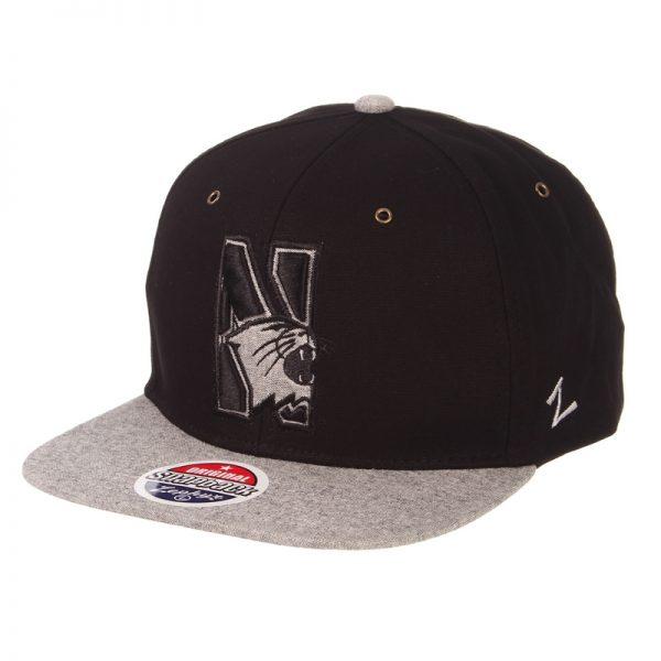 Northwestern Wildcats Zephyr Constructed Adjustable Black/Grey Flat Brim Snapback Hat with Tonal N-cat Design