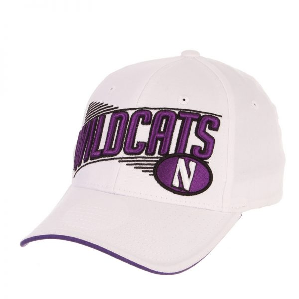 Northwestern Wildcats Zephyr Constructed Adjustable White Cotton Twill Hat with Oversized Wildcats Design