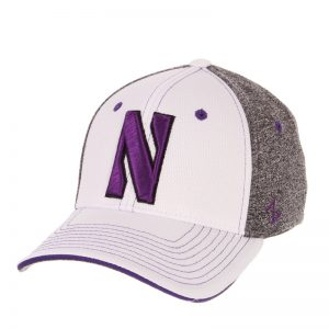 Northwestern Wildcats Zephyr Constructed Flex Fit White/Charcoal Hat with Stylized N Design