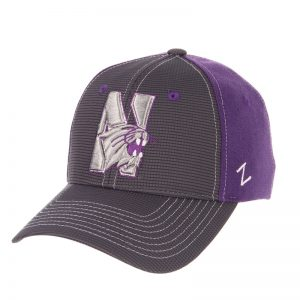 Northwestern Wildcats Zephyr Constructed Flex Fit Charcoal/Purple Hat with Tonal N-Cat Design