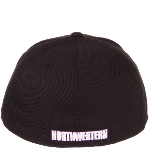 Northwestern Wildcats Zephyr Black Fitted Hat with Stylized N-Cat Design