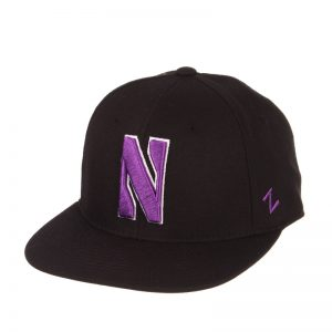 Northwestern Wildcats Zephyr Black Fitted Hat with Stylized N Design
