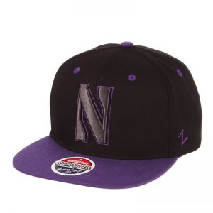 Northwestern Wildcats Zephyr Constructed Adjustable Black/Purple Flat Brim Snapback Hat with Tonal Stylized N Design