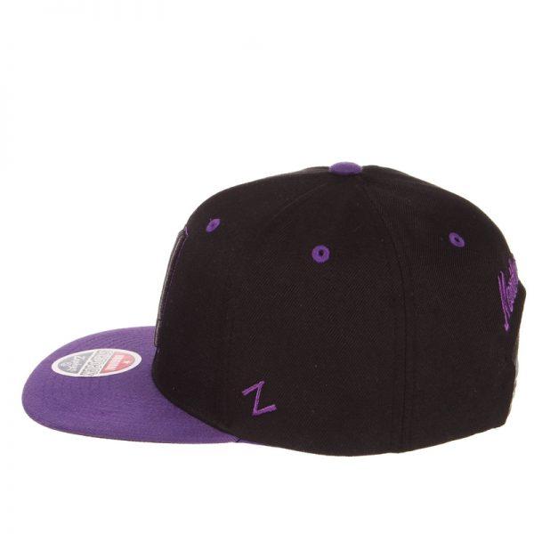 Northwestern Wildcats Zephyr Constructed Adjustable Black/Purple Flat Brim Snapback Hat with Tonal Stylized N Design