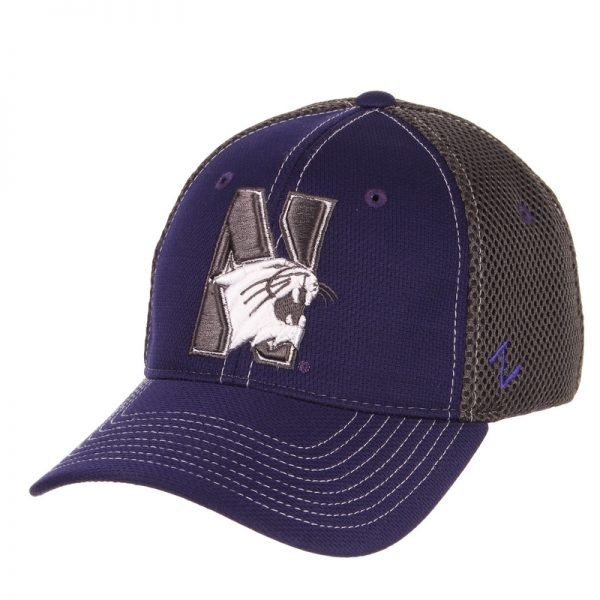 Northwestern Wildcats Zephyr Constructed Flex Fit Purple/Charcoal Hat with Tonal N-Cat Design