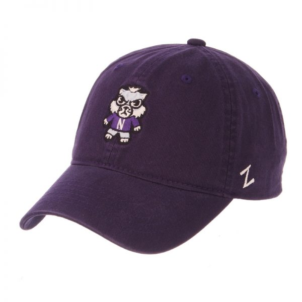 Northwestern Wildcats Zephyr Unconstructed Adjustable Purple Hat with Tokyodachi Willie the Wildcat Design