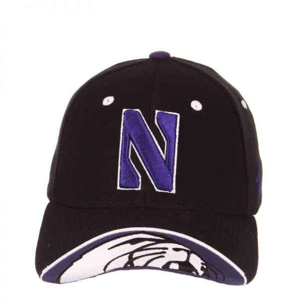 Northwestern Wildcats Zephyr Constructed Flex Fit Black Hat with Stylized N Design with Embroidered Visor