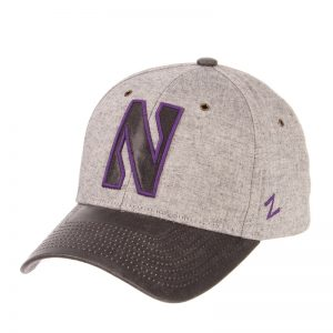 Northwestern Wildcats Zephyr Constructed Adjustable Grey Cotton Hat with Synthetic Leather Visor And Stylized N Applique Design