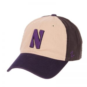 Northwestern Wildcats Zephyr Unconstructed Adjustable Multicolor Almond/Charcoal/Purple Hat with Stylized N Design