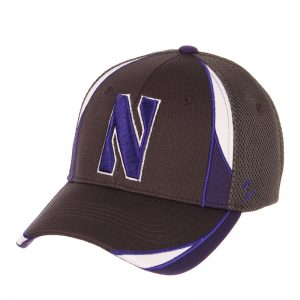 Northwestern Wildcats Zephyr Constructed Flex Fit Charcoal Hat with Purple/White Accent and Stylized N Design