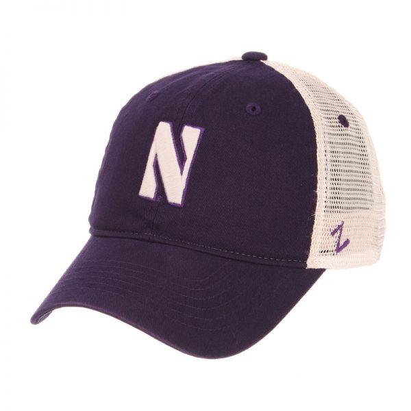 Northwestern Wildcats Zephyr Unconstructed Adjustable Dark Purple/Natural Trucker Mesh Hat with Stylized N Design