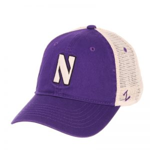 Northwestern Wildcats Zephyr Unconstructed Adjustable Purple/Natural Trucker Mesh Hat with Stylized N Design