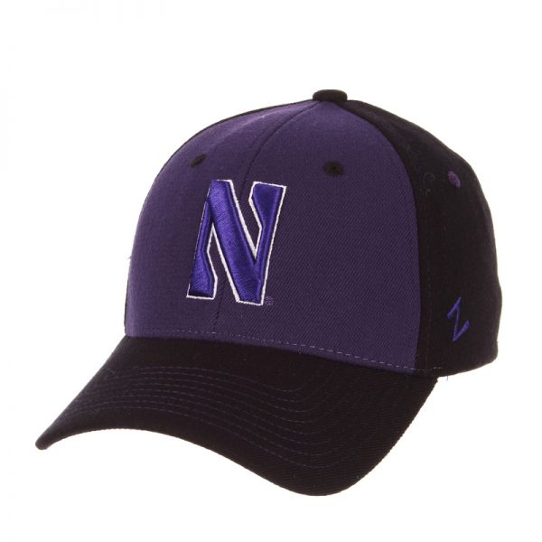 Northwestern Wildcats Zephyr Constructed Flex Fit Purple/Black Hat with Tonal Stylized N Design