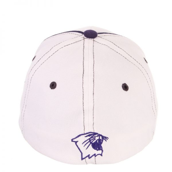 Northwestern Wildcats Zephyr Constructed Flex Fit White Hat with Purple Accents/ Black Piping and Multicolor Stylized N Design