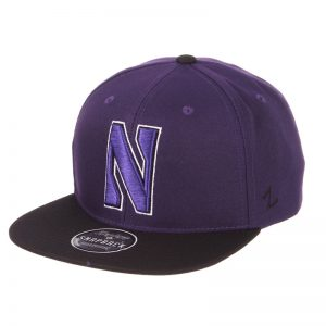 Northwestern Wildcats Zephyr Constructed Adjustable Dark Purple/Black Flat Brim Snapback Hat with Tonal N-cat Design