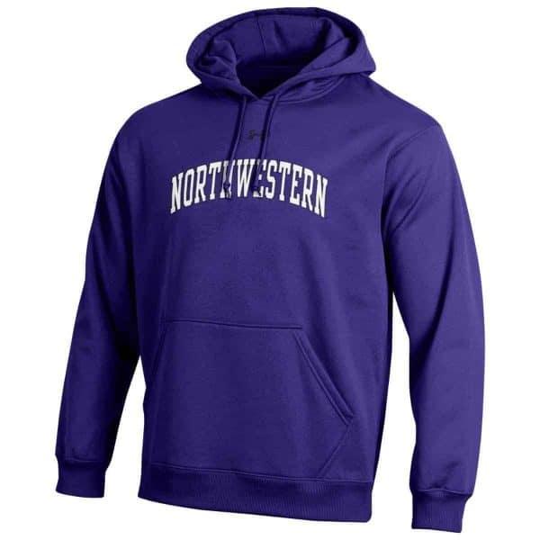 Northwestern Wildcats Under Armour Purple Fleece Hood with Printed Arched Northwestern