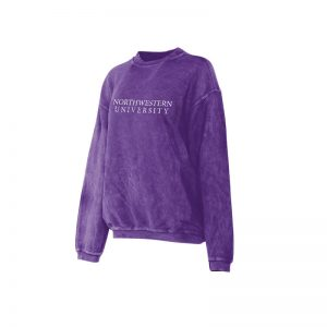 Northwestern University Wildcats Chicka-d Purple Crewneck Sweatshirt With Distressed Northwestern University Design